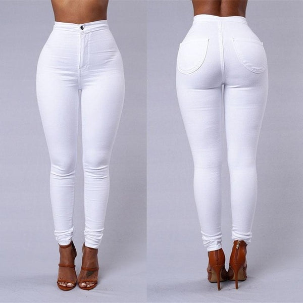 High Waist Solid Color Stretch Pencil Pants