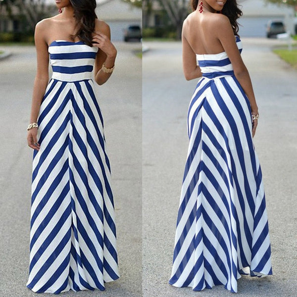 Strapless Striped Long Maxi Sundress