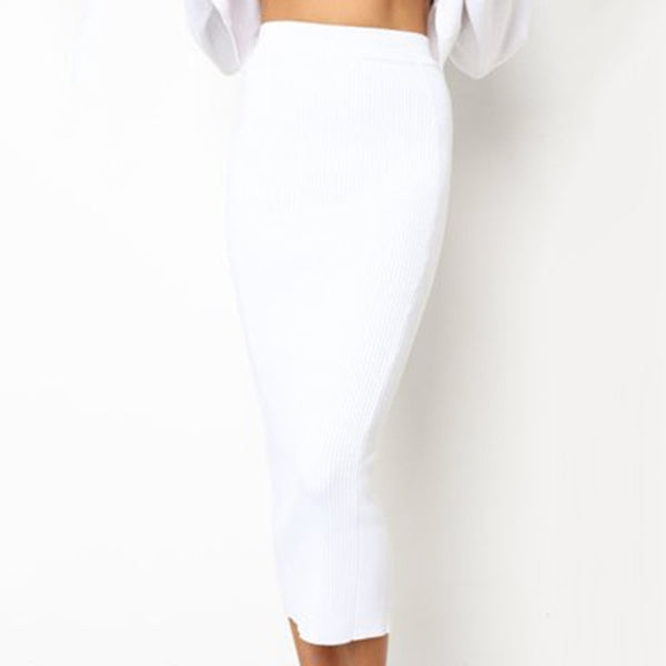 Knitted Long High Waist Pencil Skirts Elastic