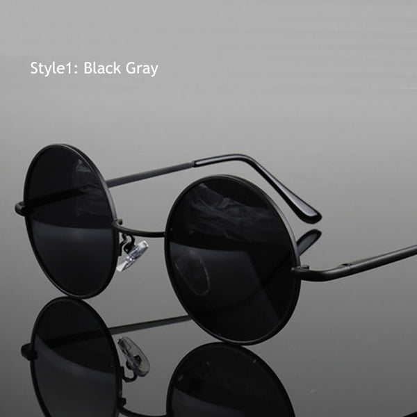 Retro Classic Vintage Round Polarized Metal Frame Black lens Sunglasses