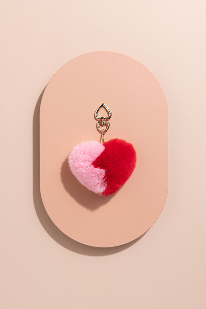 POM POM ACCESSORY - BABY PINK AND RED LOVE HEART - CrateExpectations