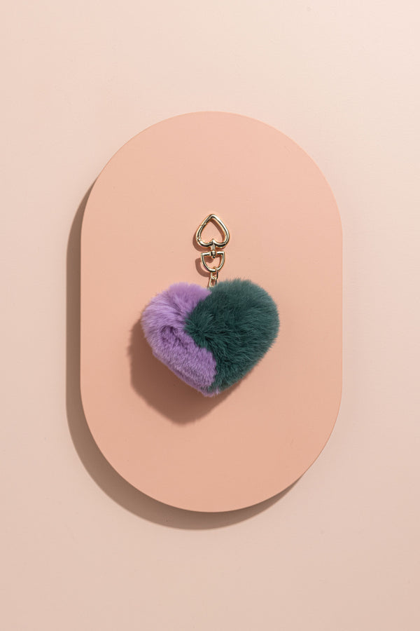 POM POM ACCESSORY - EMERALD GREEN & LAVENDER LOVE HEART - CrateExpectations