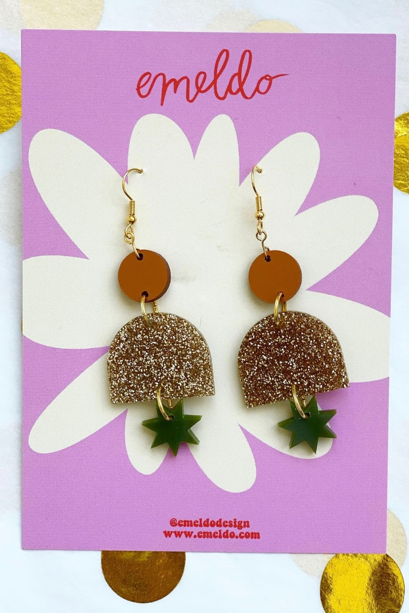 EMELDO - Alexa Earrings Bronze/Gold Glitter/Olive