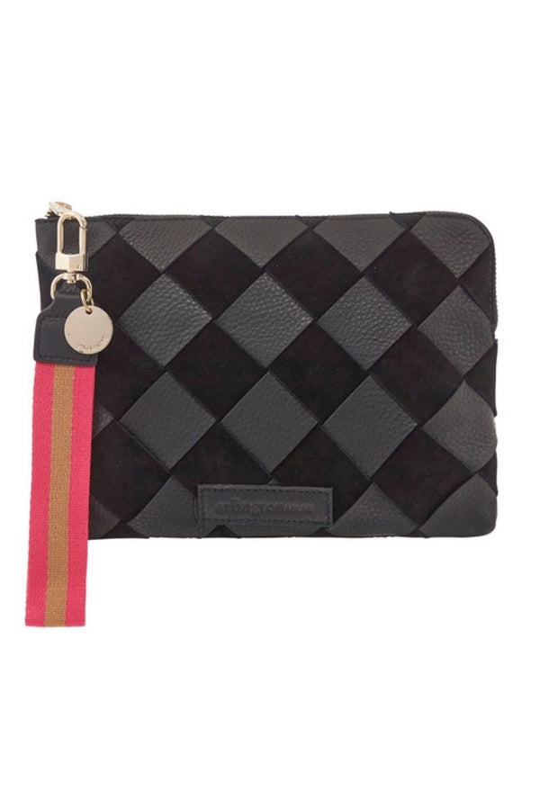 PAIGE CLUTCH Black Pebble & Suede Weave