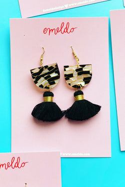 EMELDO - Annie Earrings Black, White & Gold Tiger
