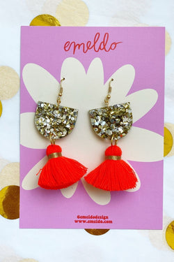 EMELDO - Annie Earrings Gold Glitter & Neon Orange