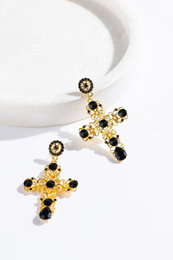 BLACK & GOLD CRYSTAL CROSS - CrateExpectations
