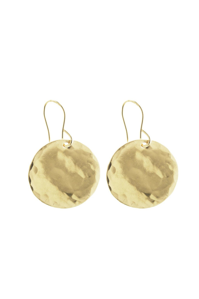 LARGE HAMMERED DISK EARRING GOLD - CrateExpectations