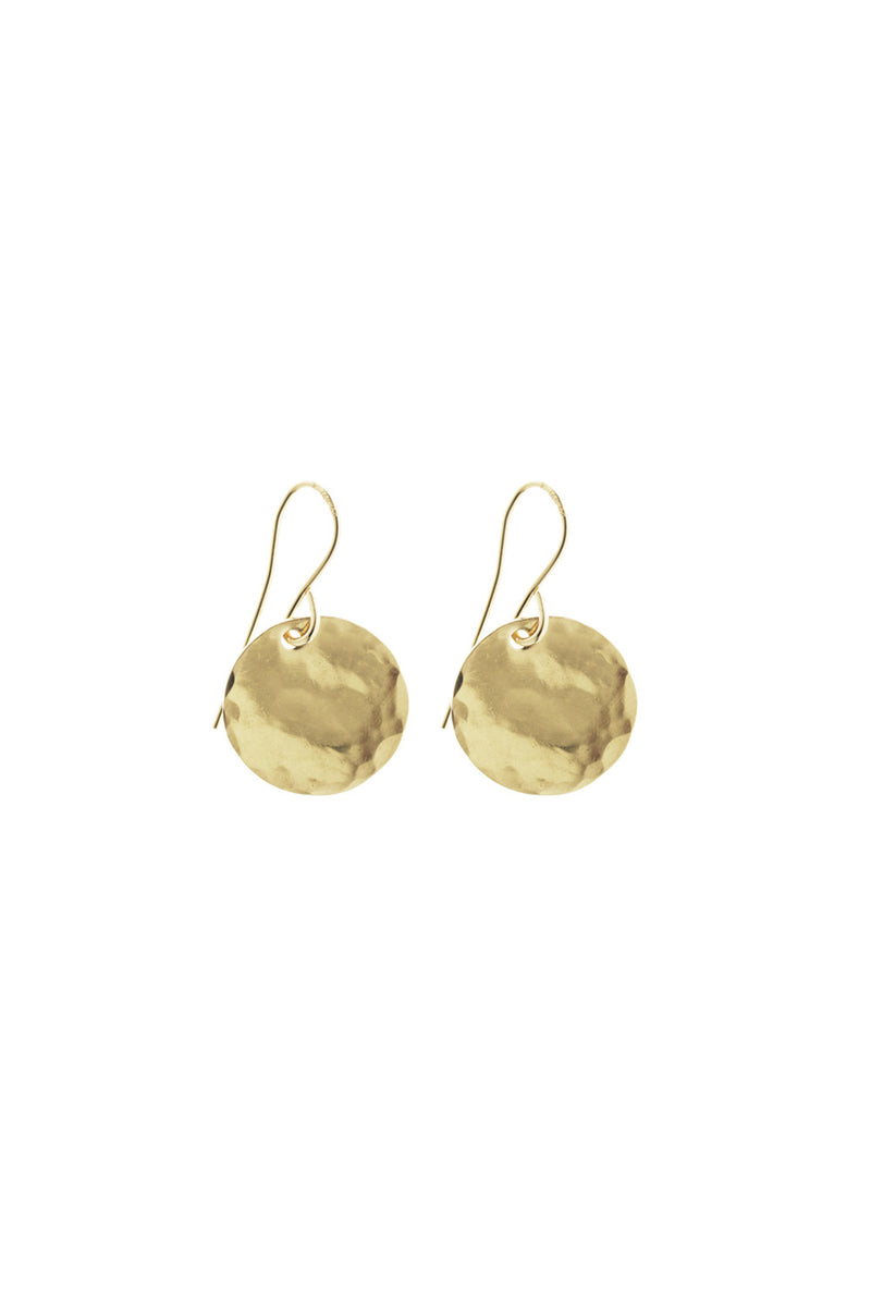 MINI HAMMERED DISK EARRING GOLD - CrateExpectations