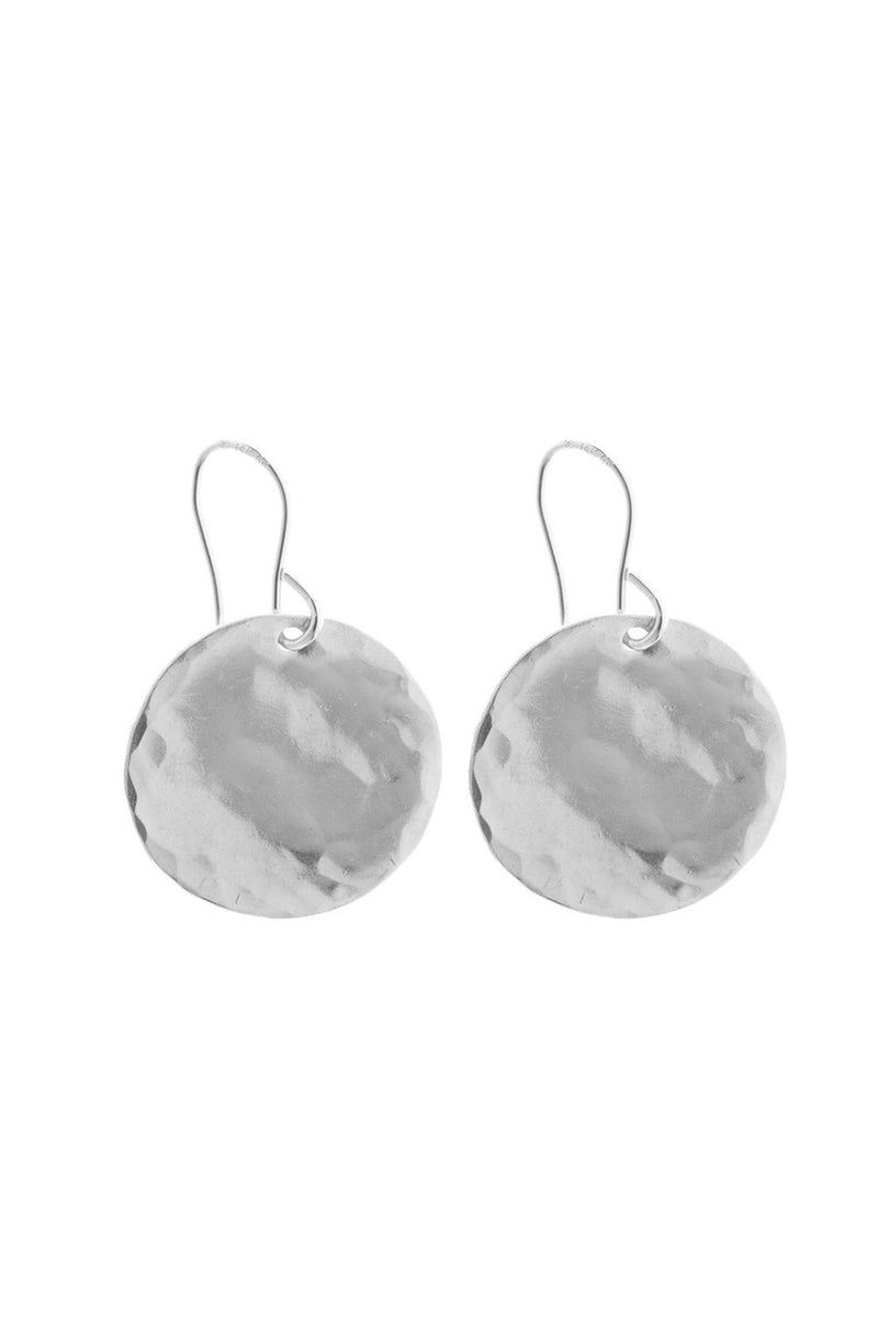 LARGE HAMMERED DISK EARRING SILVER - CrateExpectations