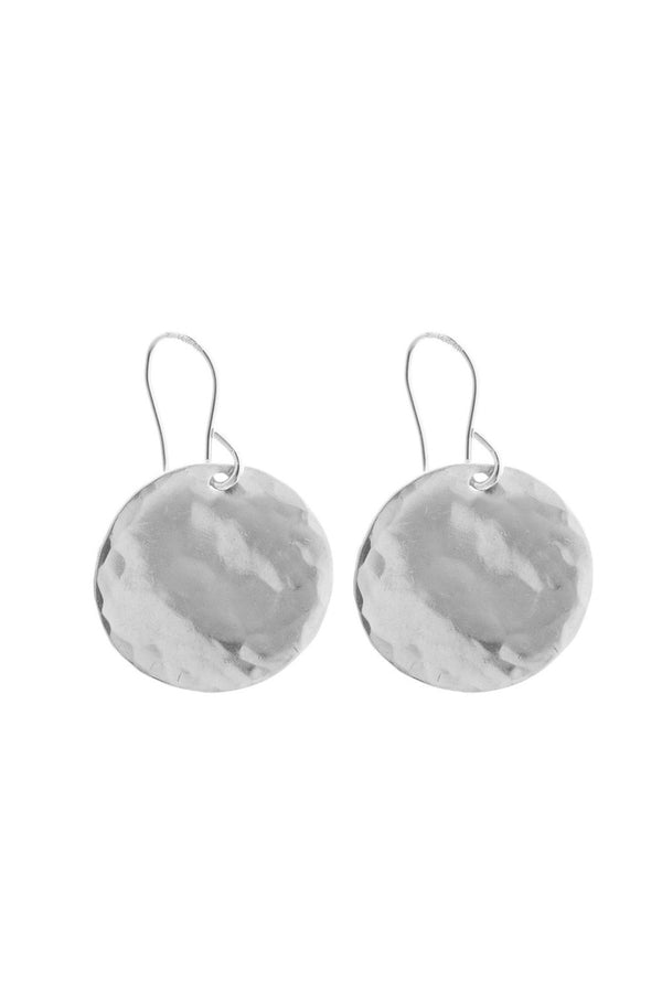 CLASSIC HAMMERED DISK EARRING SILVER - CrateExpectations