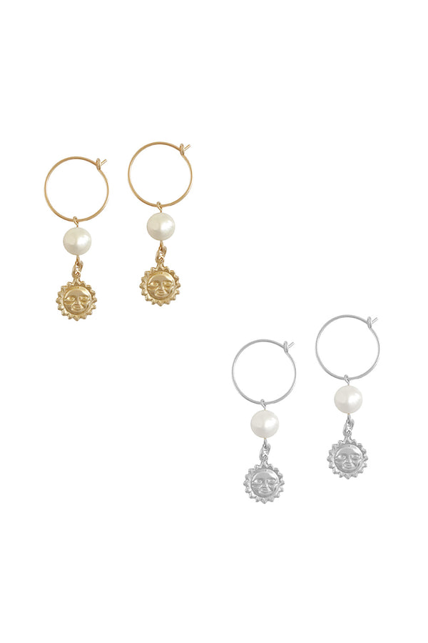 PEARL & SUN CHARM EARRING GOLD - CrateExpectations