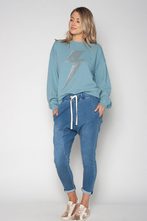 The Slouchy Sweat - Blue with Bolt