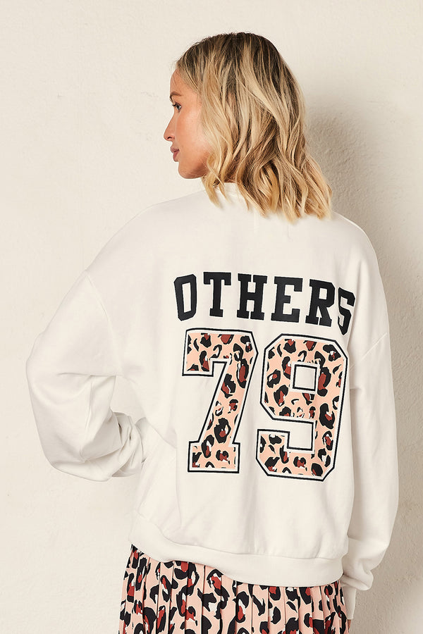 The Vintage Sweat - White with Varsity Print