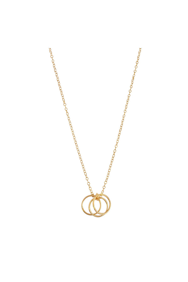 The Yana - Chain with 3 Rings Necklace- Gold - CrateExpectations
