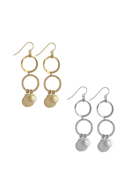 Hammered ring and double Shell charm Earring - Gold - CrateExpectations