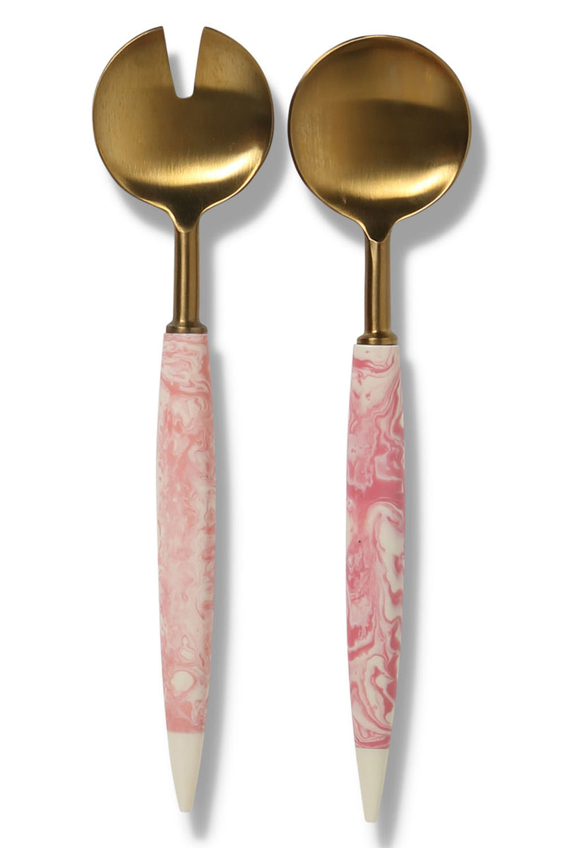 PINK MARBLE SALAD SERVERS - CrateExpectations