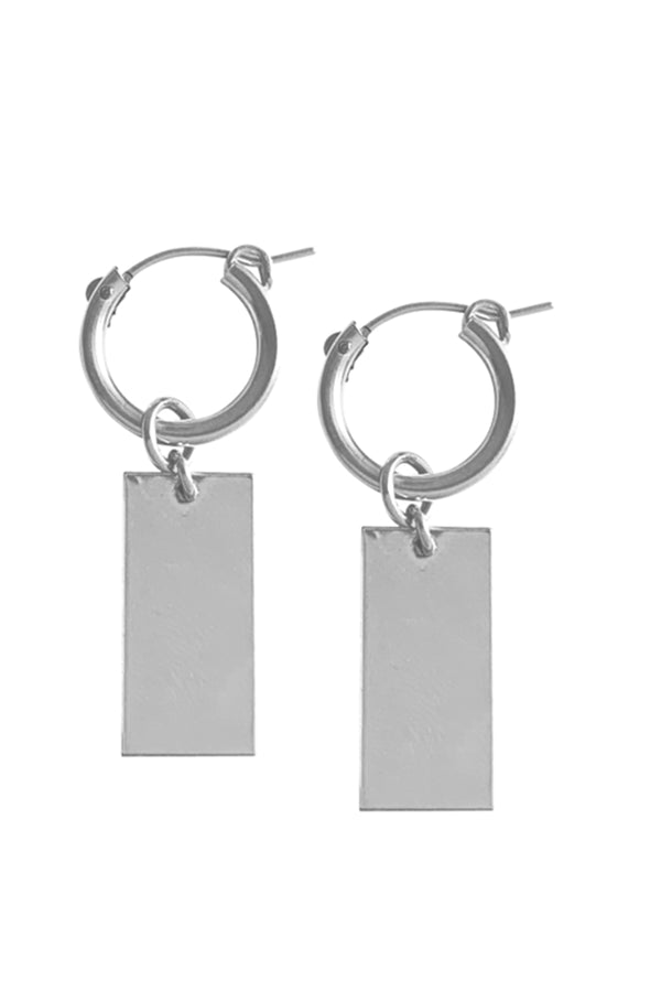 Hoop and Tag charm earring - Silver