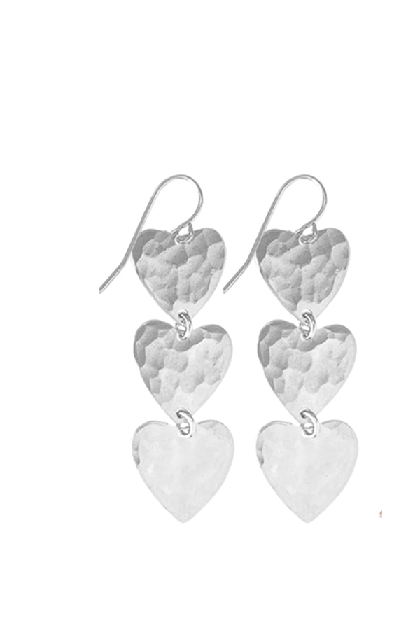 Farrah Triple Heart Earring - Silver