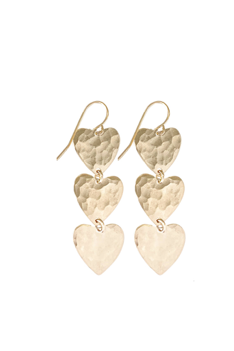 Farrah Triple Heart Earring - Gold