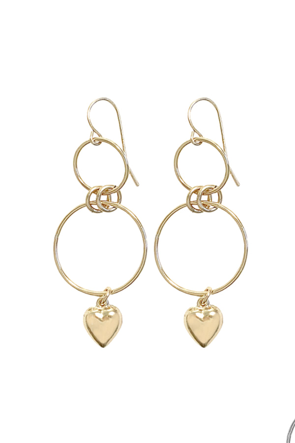 Double Ring and heart earring - gold