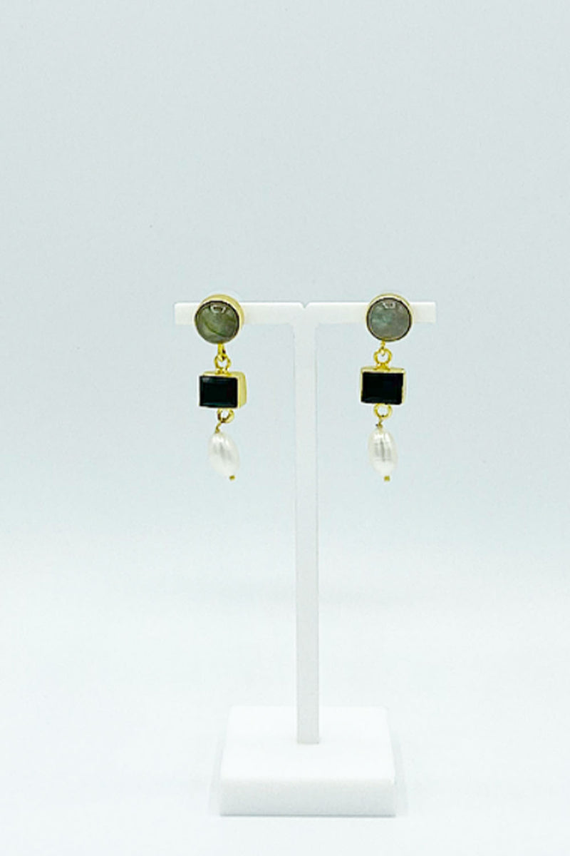 Pearl Black and Stone Earring - CrateExpectations