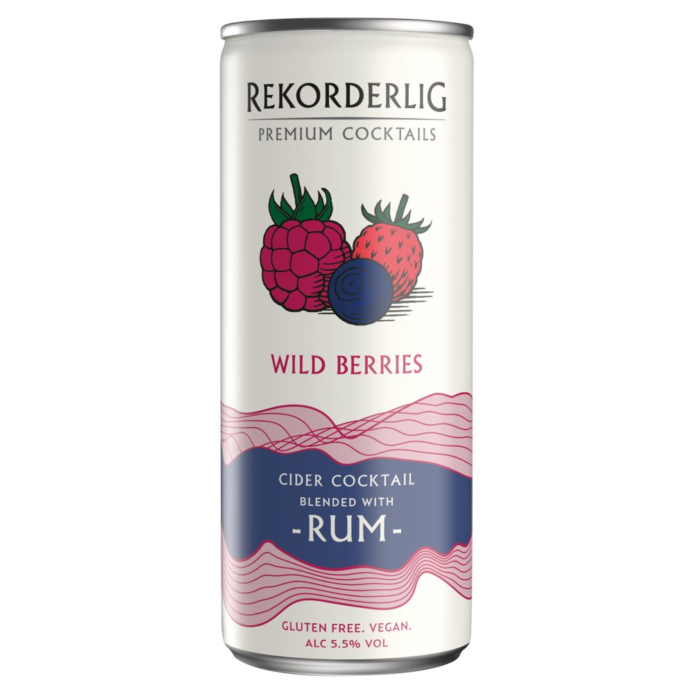 Rekorderlig Premium Cocktails - Wild Berries Cider & Rum - 250ml