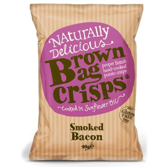 Load image into Gallery viewer, Brown Bag Smoked Bacon Crisps 40g - Small Bag