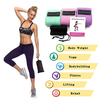 M-T-T 3 Piece Fitness  Resistance Training Booty Bands
