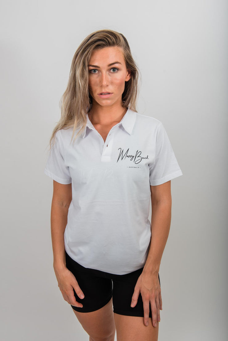 Mossy Back Golf Polo - White