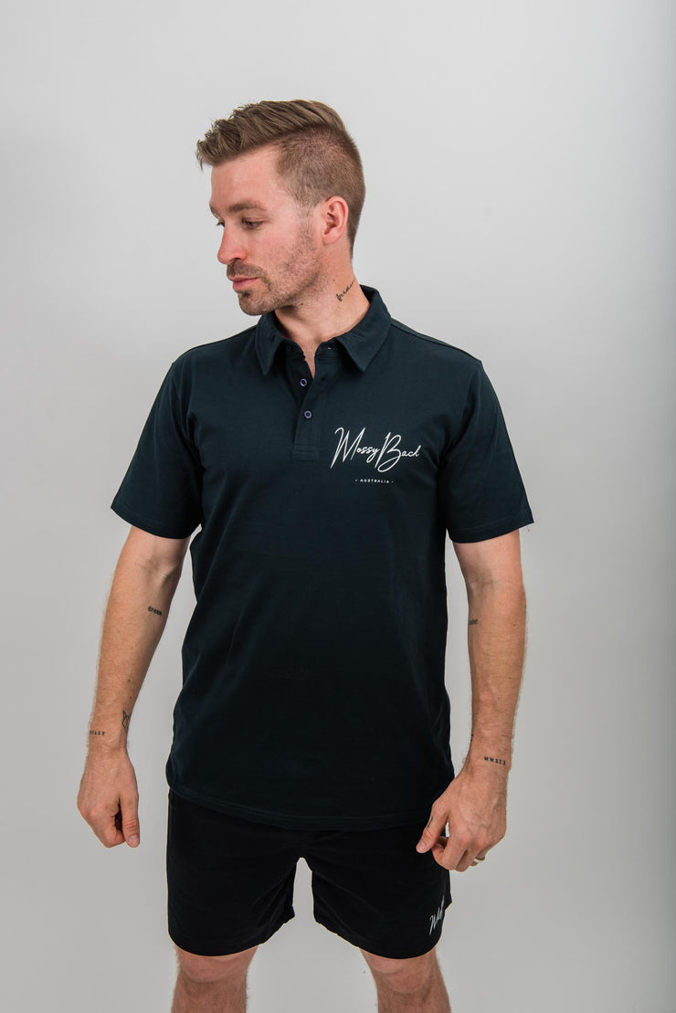 Mossy Back Golf Polo - Navy Blue