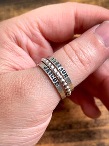 Personalized Sterling Silver Stack Ring - Hand Stamped Thin Band - by Via Francesca