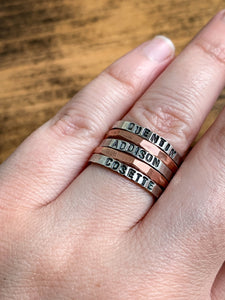 Copper Hammered Stack Ring - by Via Francesca