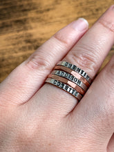 Load image into Gallery viewer, Personalized Sterling Silver Stack Ring - Hand Stamped Thin Band - by Via Francesca