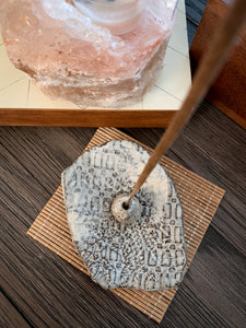 White Textured incense Holder - by Sophia Grace Collection