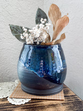 Load image into Gallery viewer, Blue Drip Chocolate Clay Vase - by Sophia Grace Collection