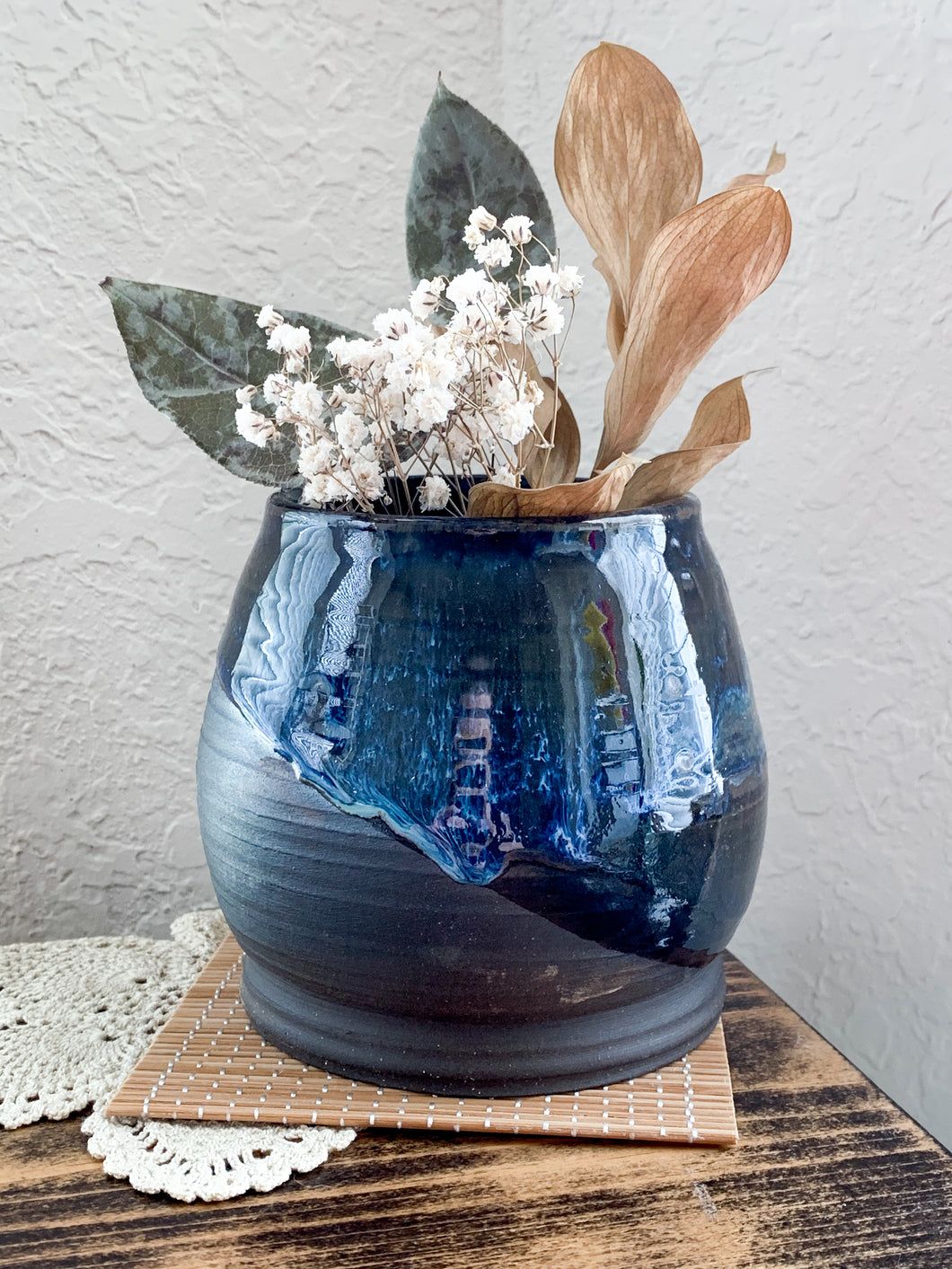 Blue Drip Chocolate Clay Vase - by Sophia Grace Collection
