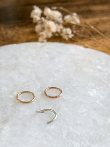 Hoop For Nose & Ear Piercings - Gold, Rose Gold or Sterling Silver - by Via Francesca