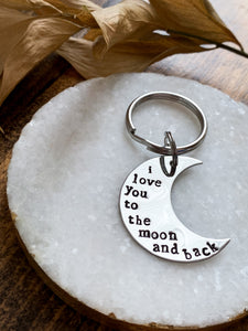 """I Love You To The Moon & Back"" Stainless Steel Hand Stamped Keychain - by Via Francesca"