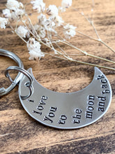 "Load image into Gallery viewer, ""I Love You To The Moon & Back"" Stainless Steel Hand Stamped Keychain - by Via Francesca"