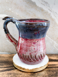 Burgundy & Blue Mug with Carved Detail - by Sophia Grace Collection