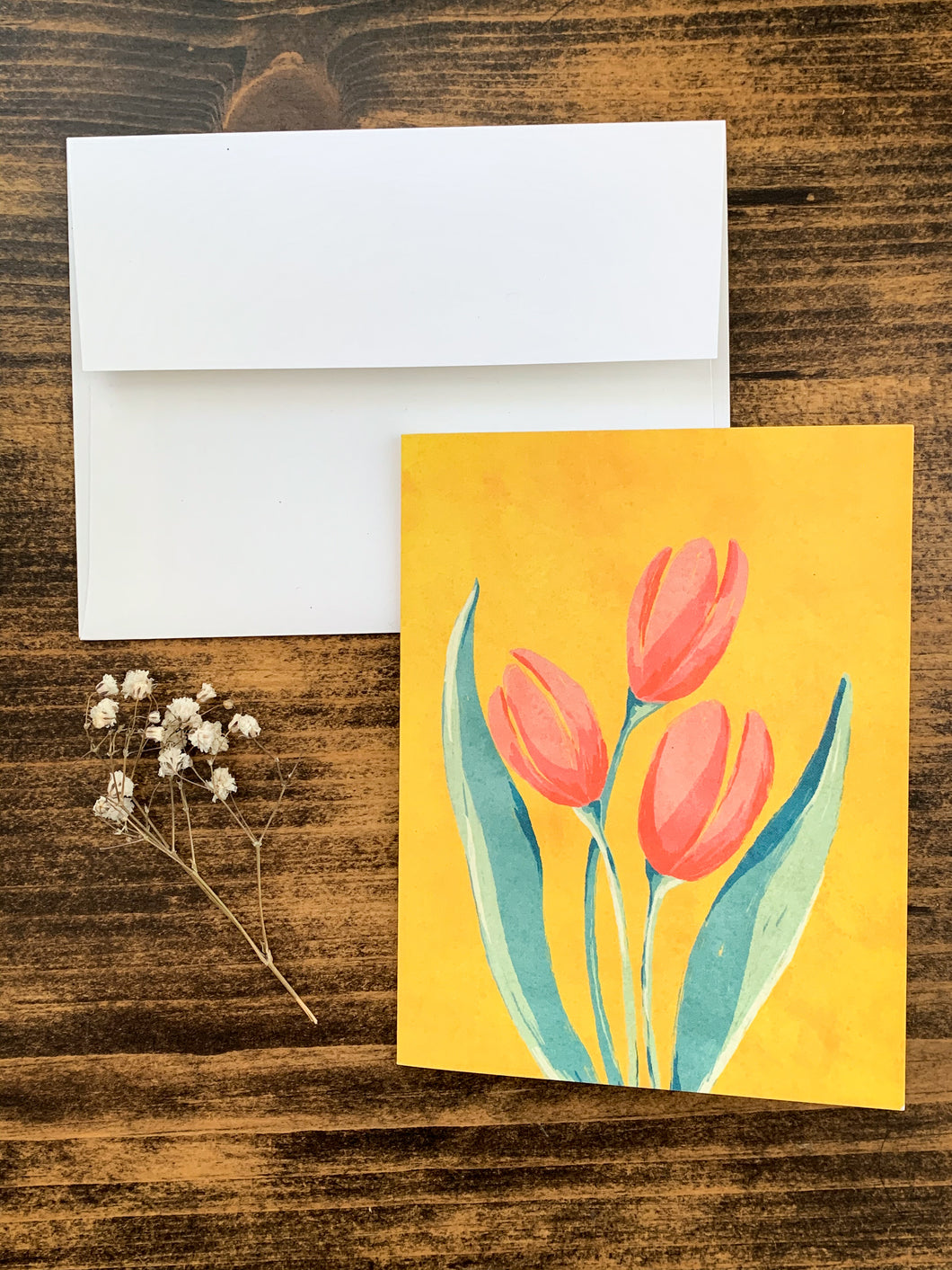 French Tulip Notecard - Single or Set of 5 - by Curated Dry Goods