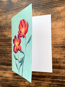 Red Peony Notecard - Single or Set of 5 - by Curated Dry Goods