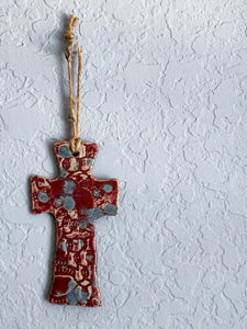 Blue & Burgundy Cross Wall Hanging - by Sophia Grace Collection