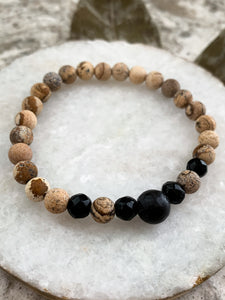 "7"" - Picture Jasper, Black Obsidian & Lava Stretchy Bracelet - by Via Francesca"