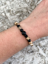 "Load image into Gallery viewer, 7"" - Picture Jasper, Black Obsidian & Lava Stretchy Bracelet - by Via Francesca"