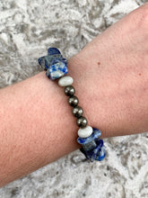 "Load image into Gallery viewer, 6 3/4"" - Lapis Lazuli, Pyrite & Amazonite Stretchy Bracelet - by Via Francesca"