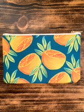 Load image into Gallery viewer, Orange Pair in Forest Accessory Bag - Pencil Case // Makeup Bag // Travel Pouch - by Curated Dry Goods