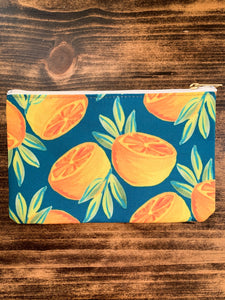 Orange Pair in Forest Accessory Bag - Pencil Case // Makeup Bag // Travel Pouch - by Curated Dry Goods