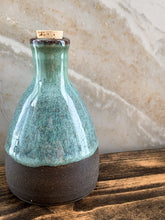 Load image into Gallery viewer, Blue-Glazed Chocolate Clay Oil Bottle - by Sophia Grace Collection